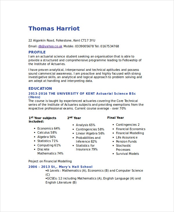 Actuarial CV Template  Resume Cv Example