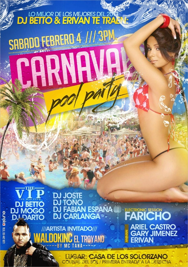 Carnaval Pool Party Flyers