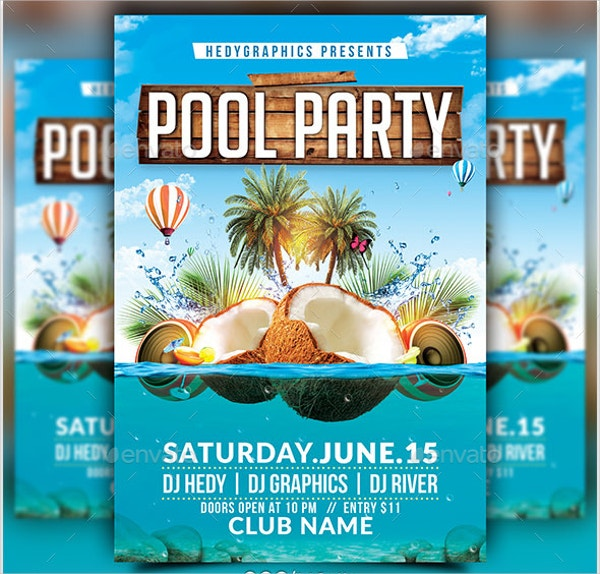 Beach Pool Party Flyers