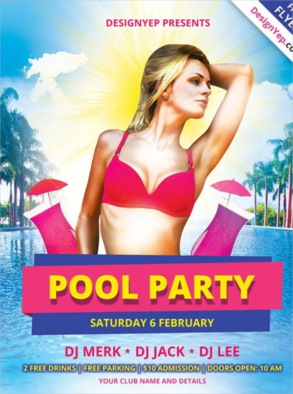 Attractive Pool Party Free PSD Flyer