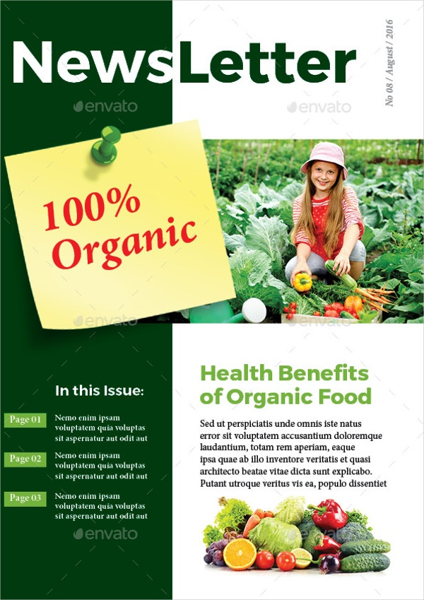 Organic Food Newsletter Brochure