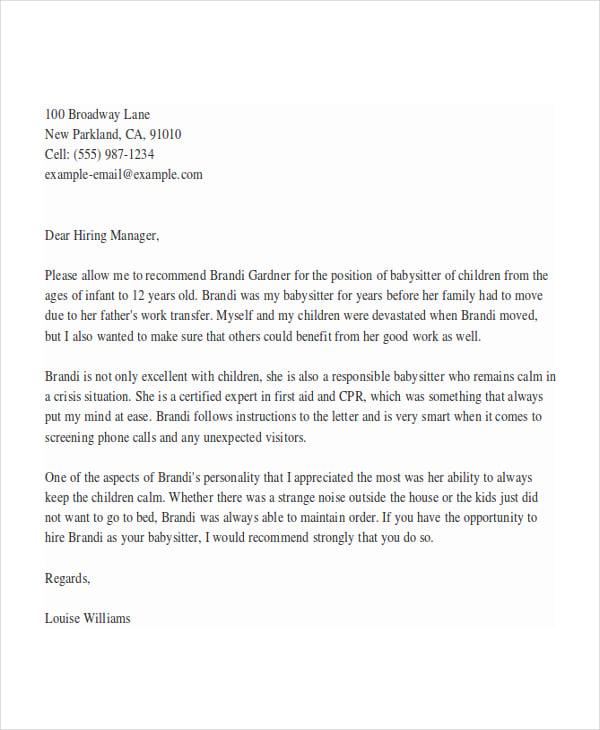 Nanny Reference Letter 28.06.2017