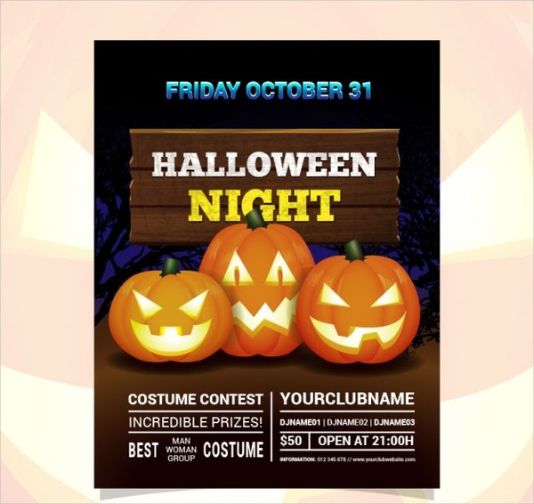 Halloween Night Costume Contest Flyer