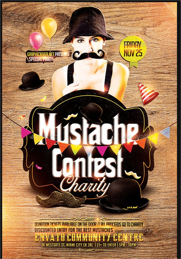 Mustache Contest Party Flyer