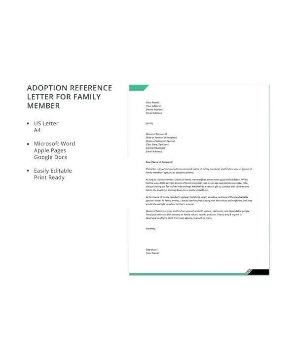 adoption reference letter for family member