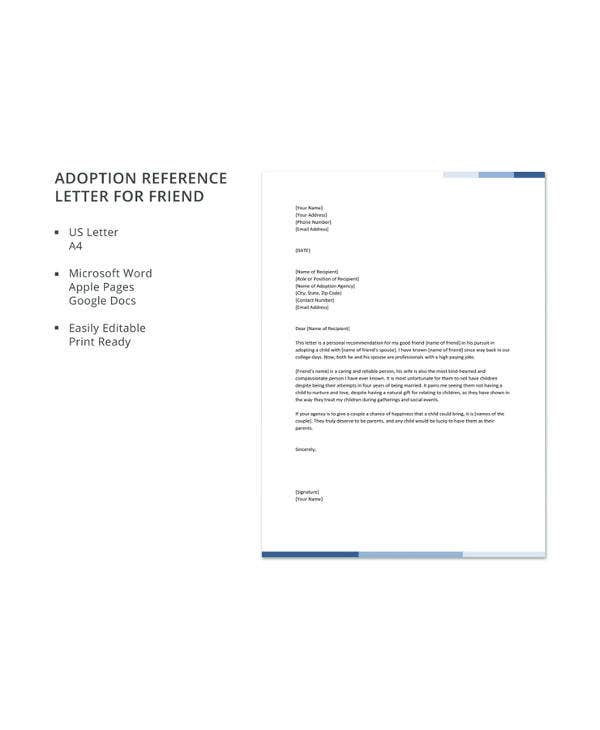 adoption reference letter for friend