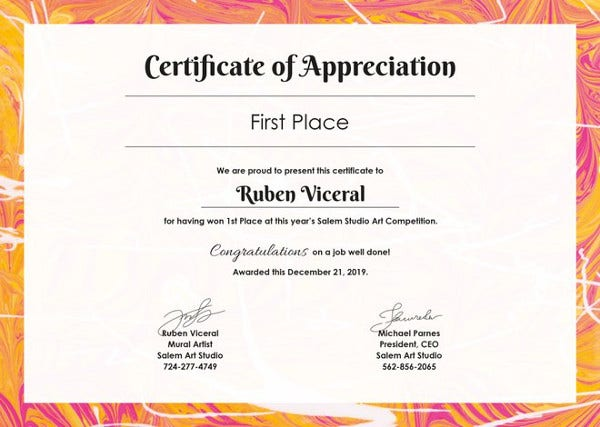 sample appreciation certificates