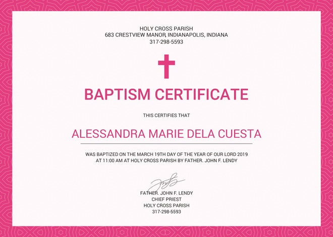 Sample Baptism Certificate Templates  Free Sample Example