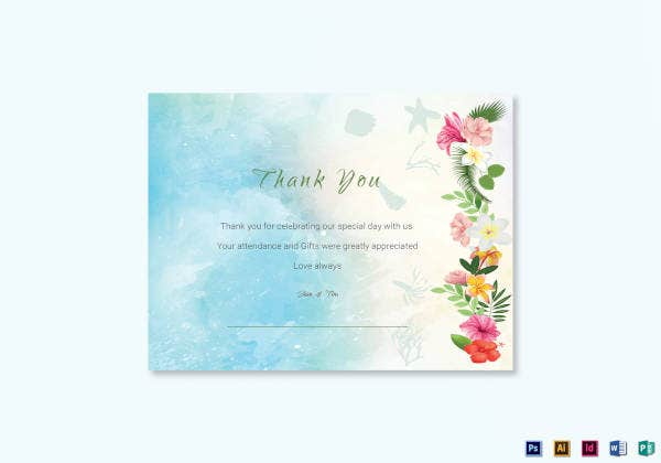beach thank you card template