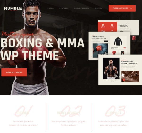 boxing mixed martial arts wordpress theme
