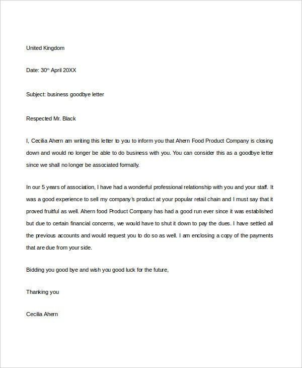 Goodbye letter template 5 free pdf documents download free business goodbye letter spiritdancerdesigns Images