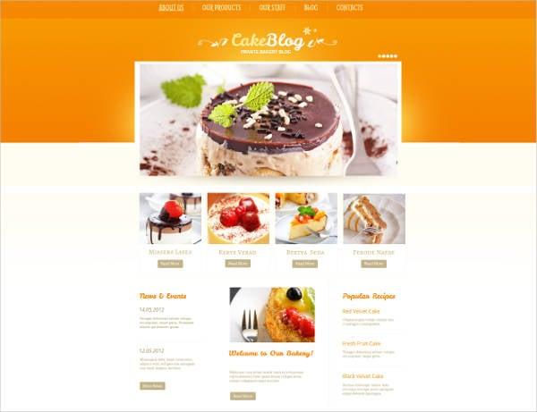 cake blog website theme template