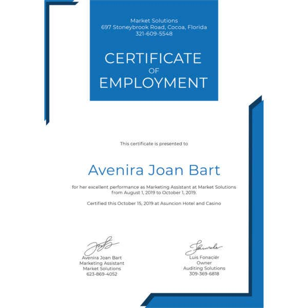 27  sample certificate of employment templates