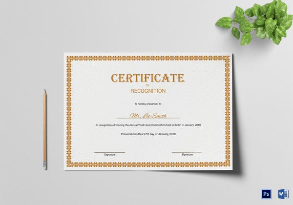 Certificate Of Recognition Template  Certificate Of Recognition Samples