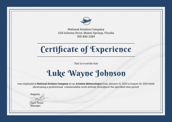 Experience Certificate Template - 17+ Free PDF Download Document ...