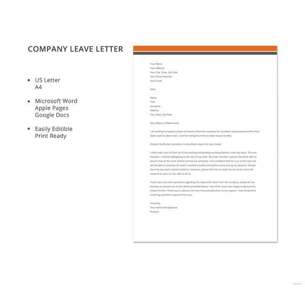 20 leave letter templates pdf doc free premium templates company leave letter template altavistaventures Gallery