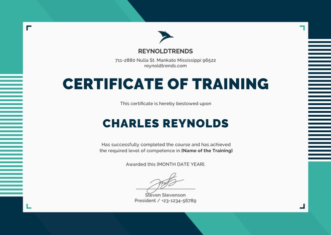 Company Training Certificate Example