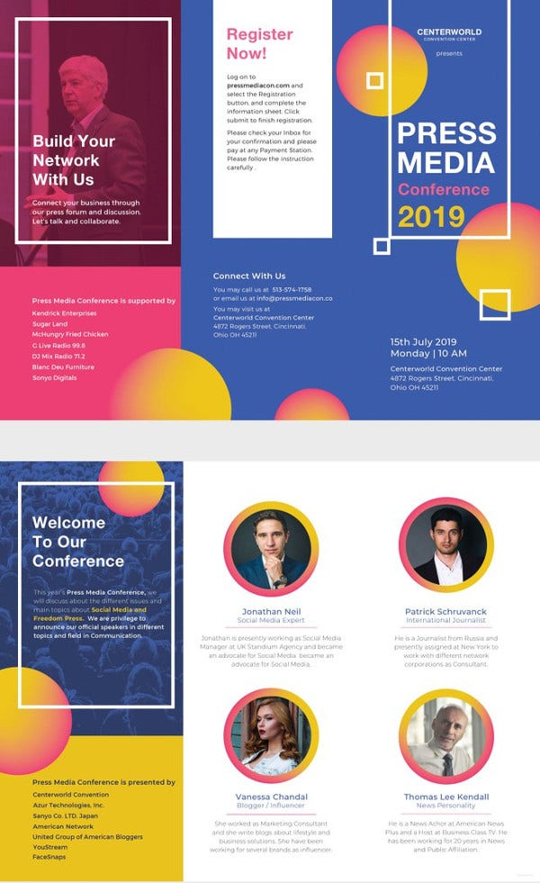 Free Brochure Templates  Psd Indesign Illustration Format