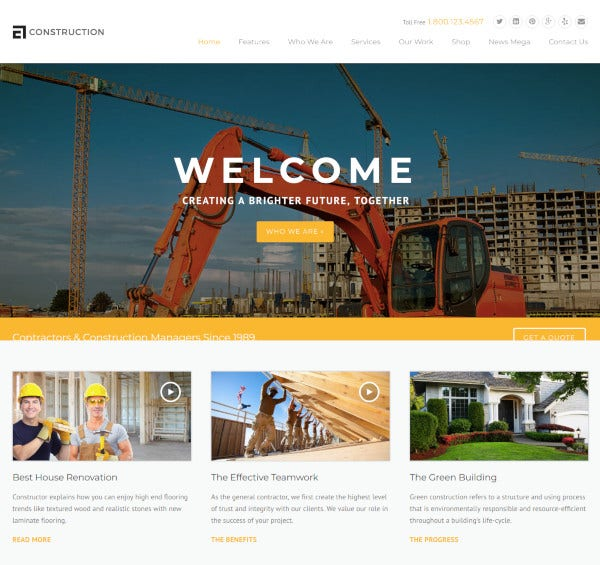construction building business wordpress theme