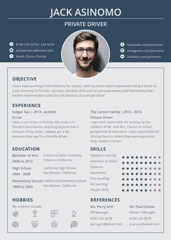 Free Driver Resume Template Word Doc Psd Indesign