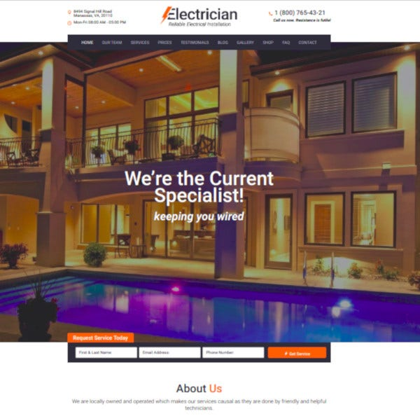 electrician electricity services wordpress theme