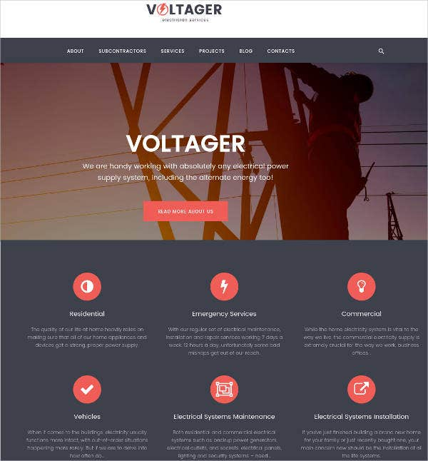 electricity electrician services wordpress theme
