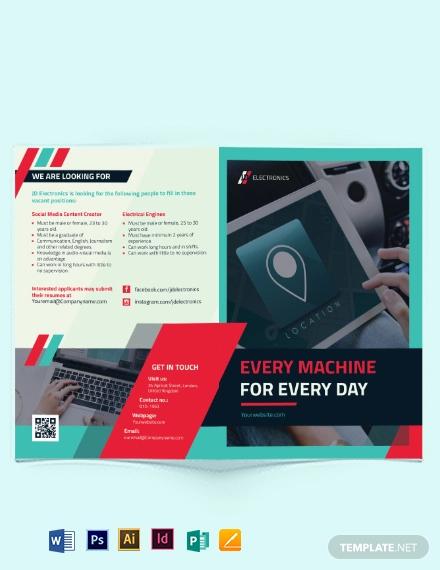 electronic company bi fold brochure template