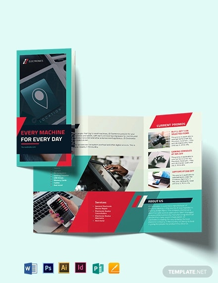 electronic company tri fold brochure template