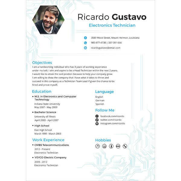 electronic engineer resume template - Engineering Resume Templates