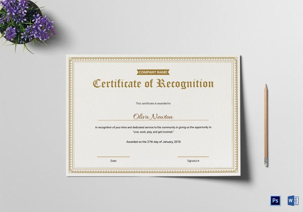 employee certificate of recognition