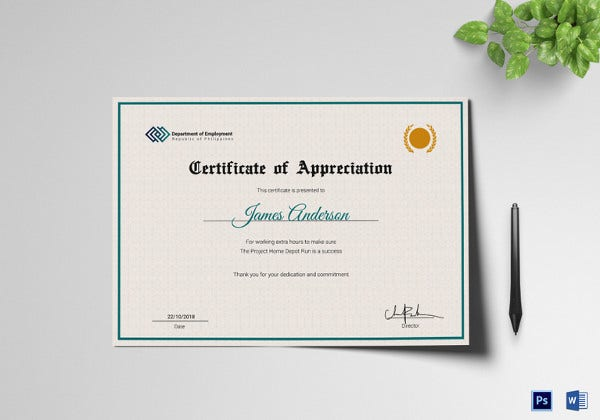 employee service certificate word template