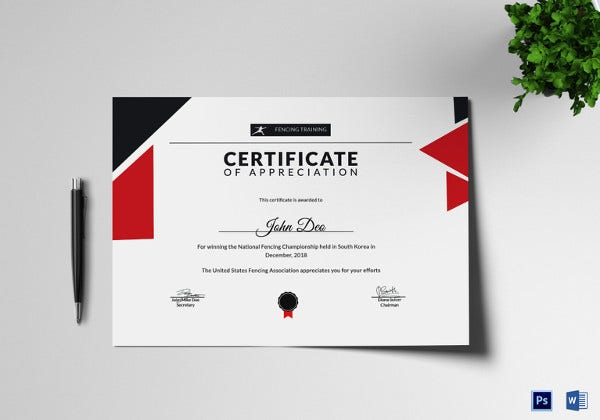 fencing winning appreciation certificate template