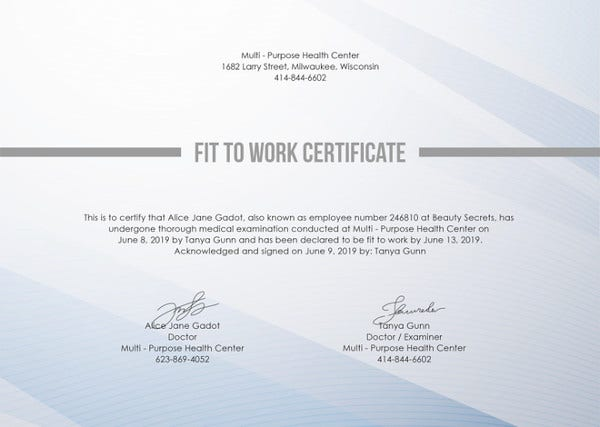Work Certificate Template - 18+ Free Word, PDF Document Download ...