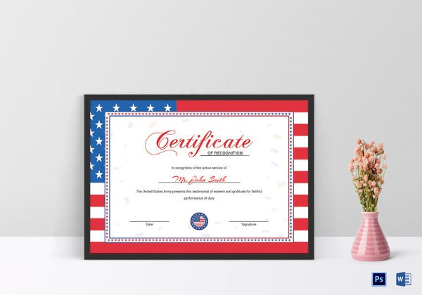 flag certificate of recognition example template