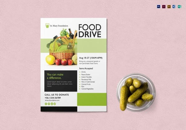 Food Drive Flyer Template In PSD  Can Food Drive Flyer Template