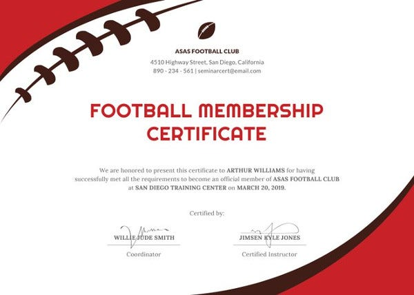 23 sports certificate templates free sample example format football certificate template yelopaper Images