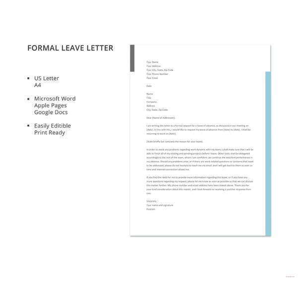 20 leave letter templates pdf doc free premium templates formal leave letter template altavistaventures Gallery