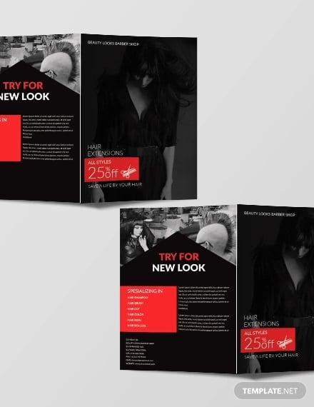 free barbershop a3 bifold brochure