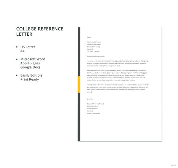6 college reference letter templates free sample example format free college reference letter template expocarfo Images