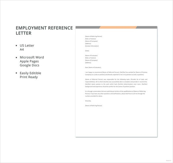 10 employment reference letter templates free sample example free employment reference letter template spiritdancerdesigns Gallery