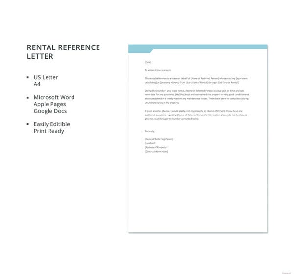 free rental reference letter template