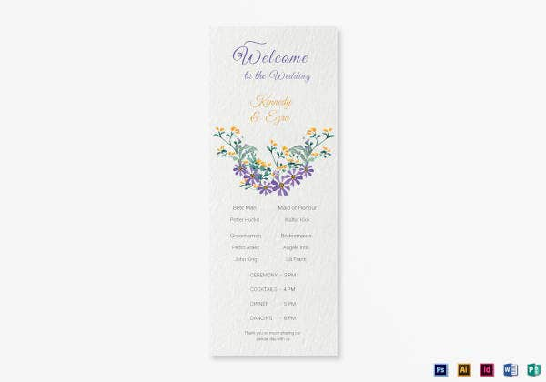 garden wedding program card template