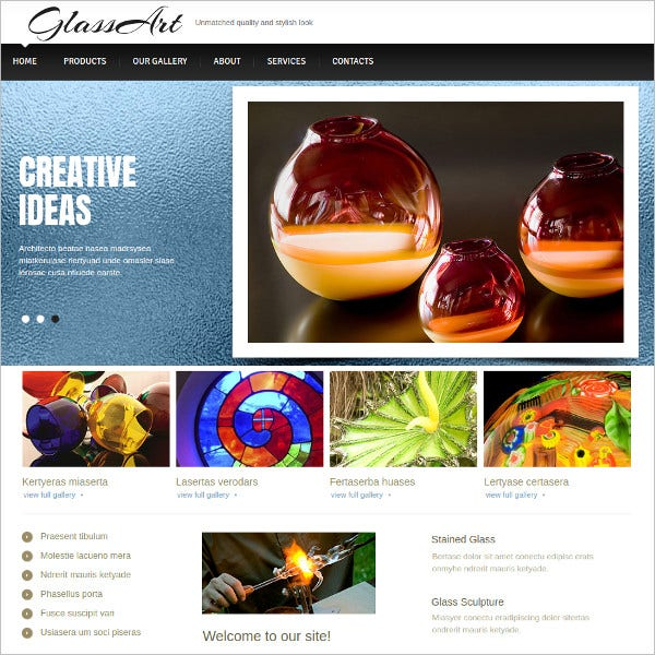 glass art website template