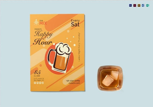 happy hour flyer template in indesign