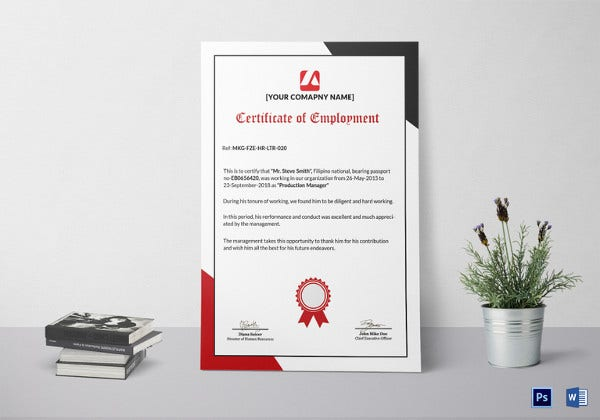 independent appreciation employment contractor certificate