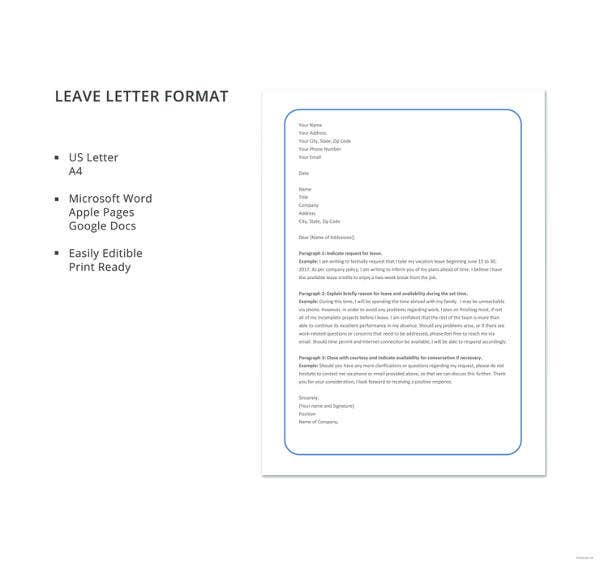 20 leave letter templates pdf doc free premium templates leave letter format details thecheapjerseys Gallery