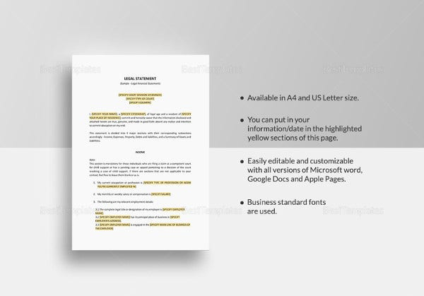 legal statement template to print