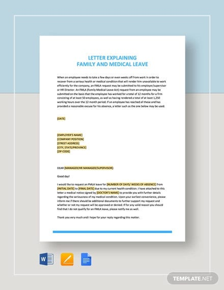 letter explaining family and medical leave template1