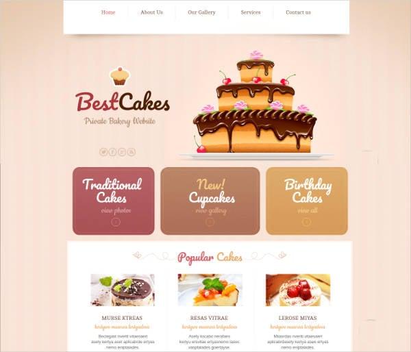 nice creamy bakery website theme