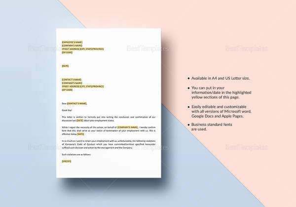 notice-of-termination-work-rules-violation-letter-template